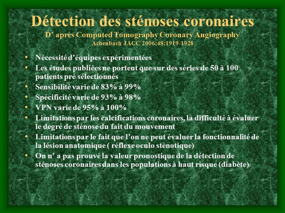 Détection des sténoses coronaires D après Computed Tomography Coronary Angiography Achenbach JACC 2006;48;1919-1928 Nécessité déquipes expérimentées L
