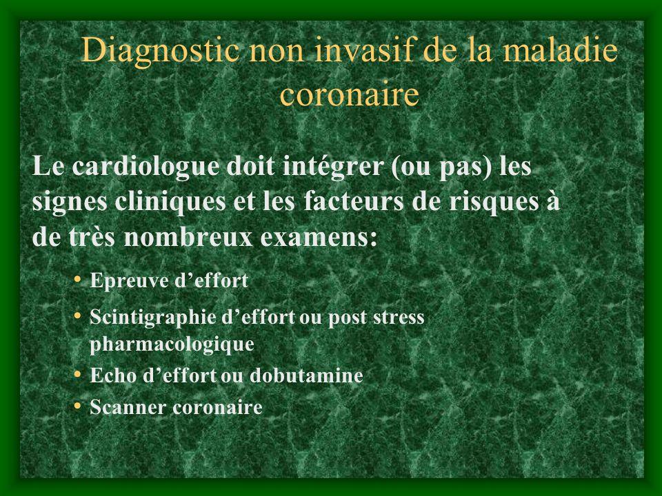 Diagnostic non invasif de la maladie coronaire Le cardiologue doit intégrer (ou pas) les signes cliniques et les facteurs de risques à de très nombreu