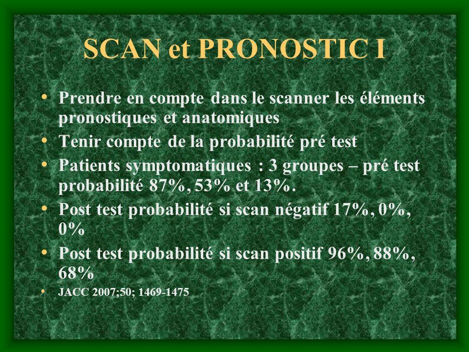SCAN et PRONOSTIC I Prendre en compte dans le scanner les éléments pronostiques et anatomiques Tenir compte de la probabilité pré test Patients sympto