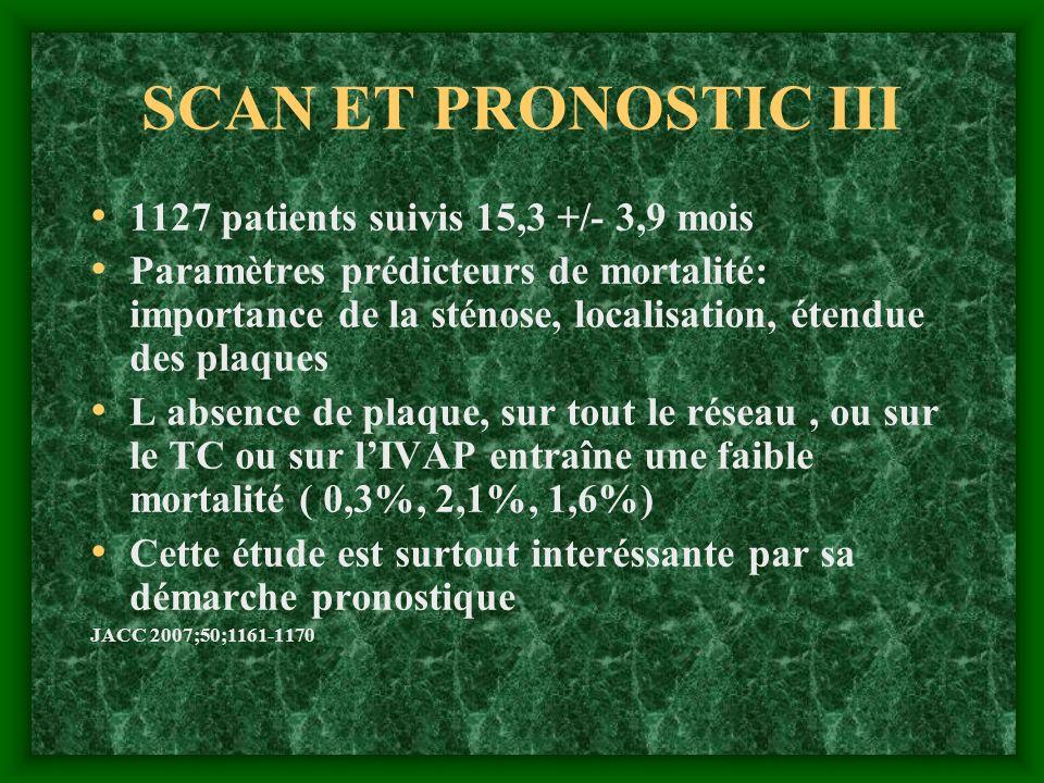 SCAN ET PRONOSTIC III 1127 patients suivis 15,3 +/- 3,9 mois Paramètres prédicteurs de mortalité: importance de la sténose, localisation, étendue des