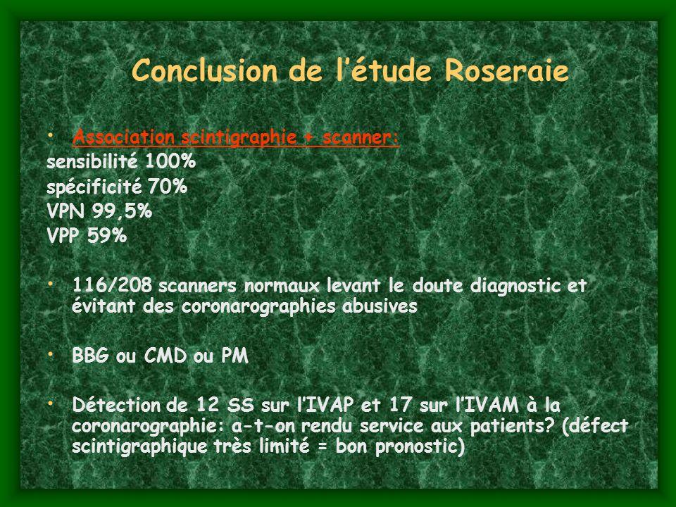 Conclusion de létude Roseraie Association scintigraphie + scanner: sensibilité 100% spécificité 70% VPN 99,5% VPP 59% 116/208 scanners normaux levant