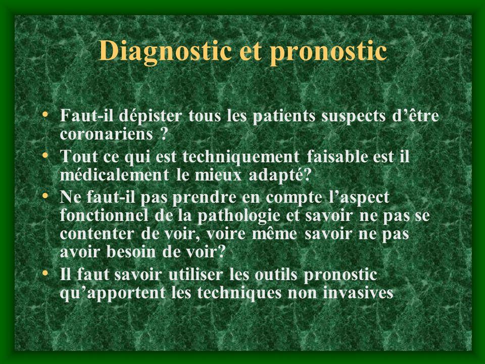 Diagnostic et pronostic Faut-il dépister tous les patients suspects dêtre coronariens ? Tout ce qui est techniquement faisable est il médicalement le