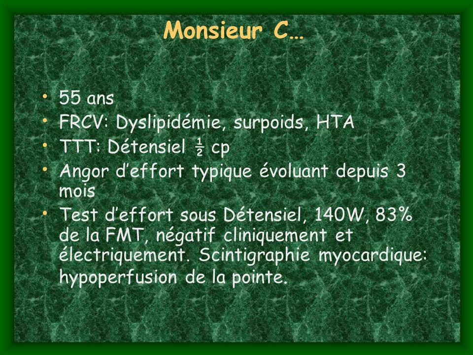 Monsieur C… 55 ans FRCV: Dyslipidémie, surpoids, HTA TTT: Détensiel ½ cp Angor deffort typique évoluant depuis 3 mois Test deffort sous Détensiel, 140