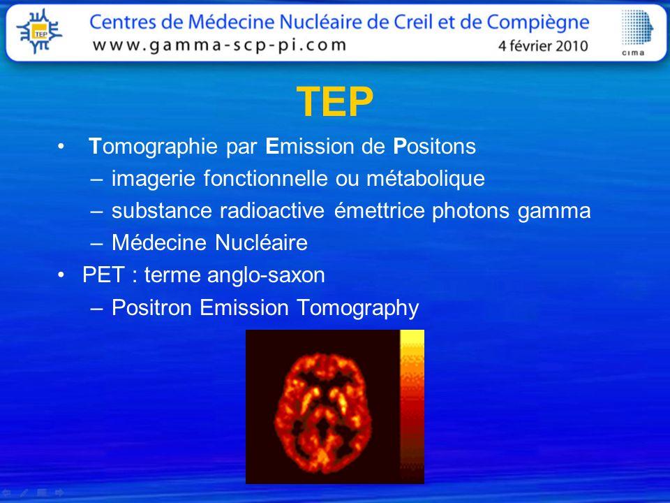 TEP Tomographie par Emission de Positons –imagerie fonctionnelle ou métabolique –substance radioactive émettrice photons gamma –Médecine Nucléaire PET