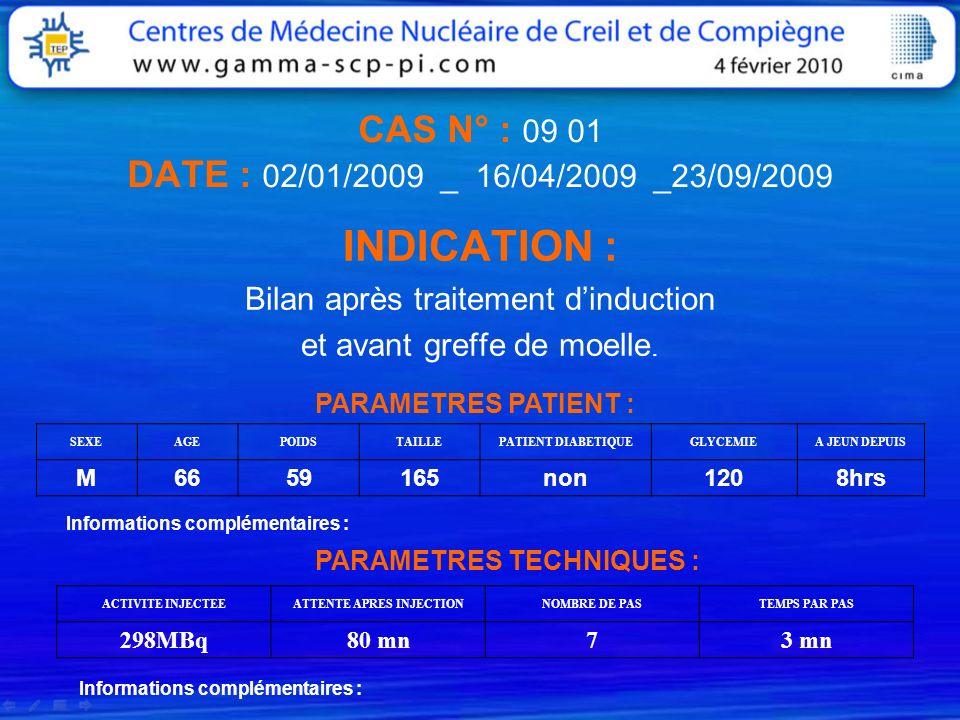 CAS N° : 09 01 DATE : 02/01/2009 _ 16/04/2009 _23/09/2009 INDICATION : Bilan après traitement dinduction et avant greffe de moelle. PARAMETRES PATIENT