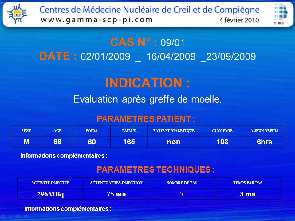 CAS N° : 09/01 DATE : 02/01/2009 _ 16/04/2009 _23/09/2009 INDICATION : Evaluation après greffe de moelle. PARAMETRES PATIENT : SEXEAGEPOIDSTAILLEPATIE