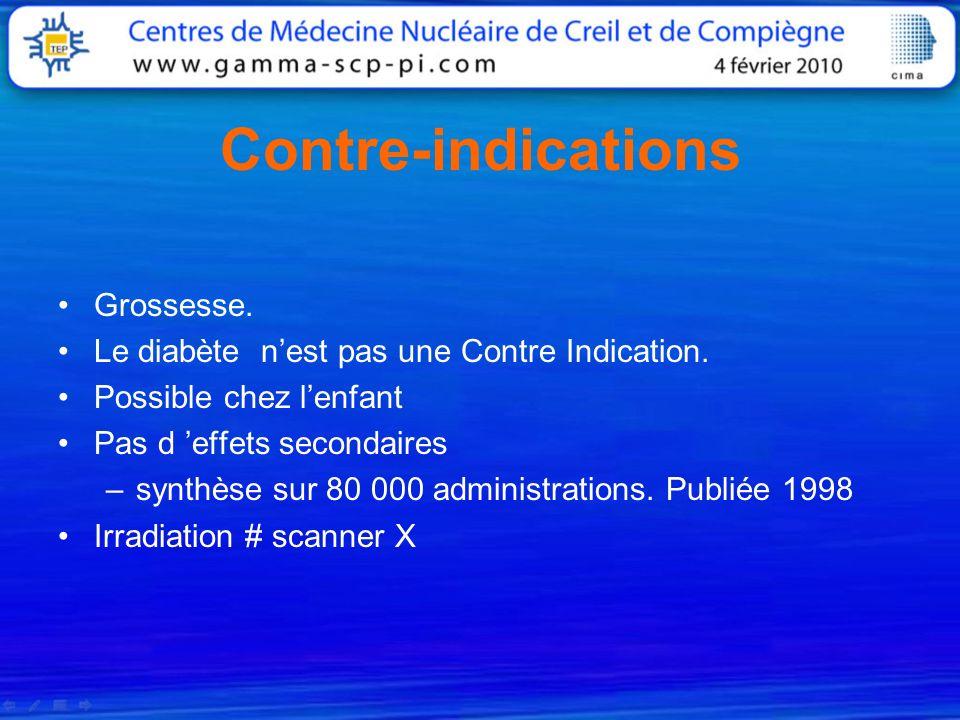 Contre-indications Grossesse. Le diabète nest pas une Contre Indication. Possible chez lenfant Pas d effets secondaires –synthèse sur 80 000 administr