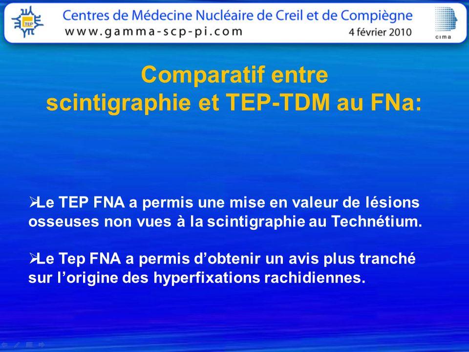 Comparatif entre scintigraphie et TEP-TDM au FNa: Le TEP FNA a permis une mise en valeur de lésions osseuses non vues à la scintigraphie au Technétium