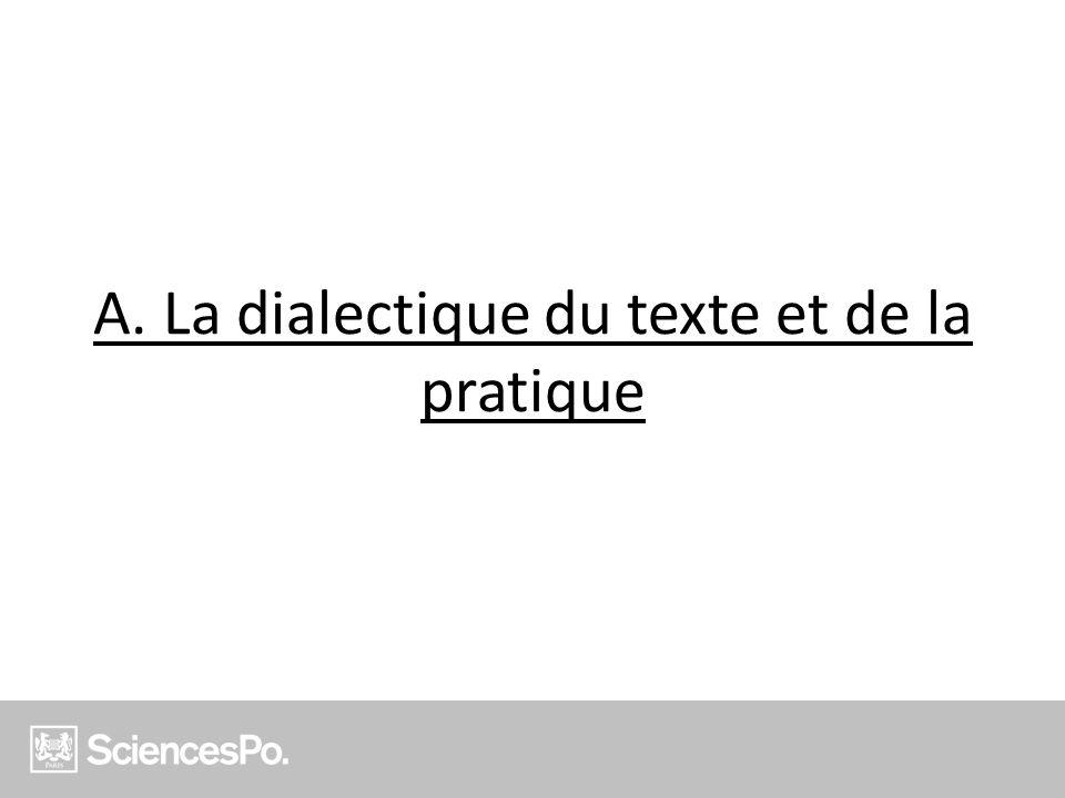 A. La dialectique du texte et de la pratique