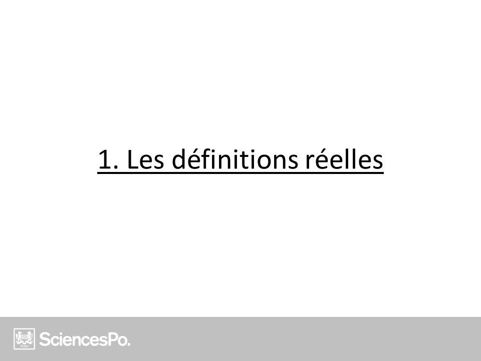 1. Les définitions réelles
