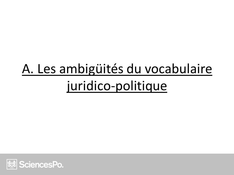 A. Les ambigüités du vocabulaire juridico-politique