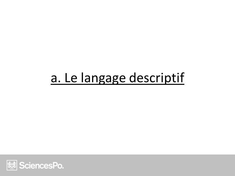 a. Le langage descriptif