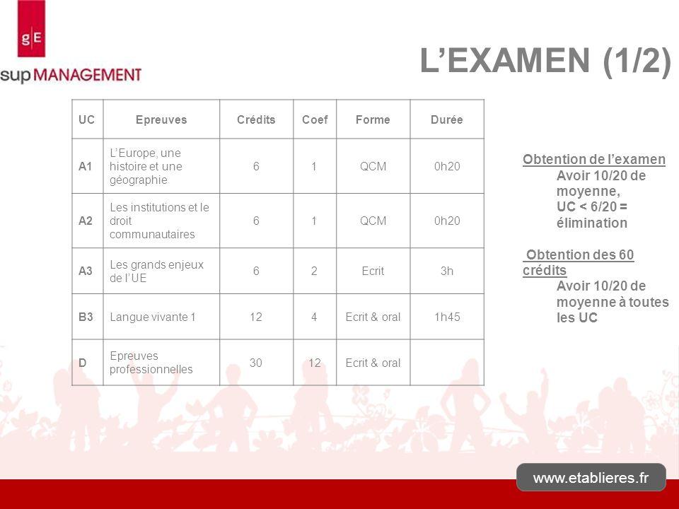 www.etablieres.fr LEXAMEN (1/2) Obtention de lexamen Avoir 10/20 de moyenne, UC < 6/20 = élimination Obtention des 60 crédits Avoir 10/20 de moyenne à