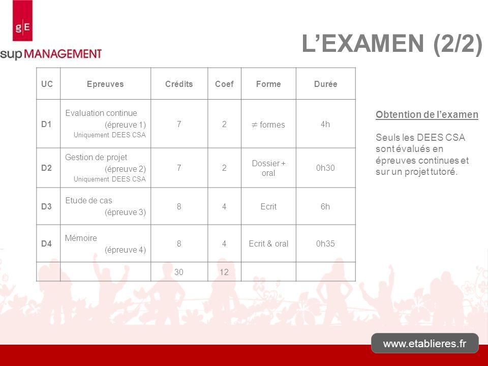 www.etablieres.fr LEXAMEN (2/2) Obtention de lexamen Seuls les DEES CSA sont évalués en épreuves continues et sur un projet tutoré. UCEpreuvesCréditsC