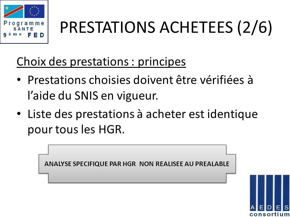 PRESTATIONS ACHETEES (2/6) Choix des prestations : principes Prestations choisies doivent être vérifiées à laide du SNIS en vigueur. Liste des prestat