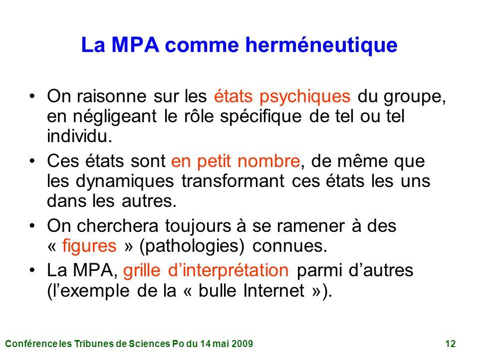 Conférence les Tribunes de Sciences Po du 14 mai 2009 12 La MPA comme herméneutique On raisonne sur les états psychiques du groupe, en négligeant le rôle spécifique de tel ou tel individu.