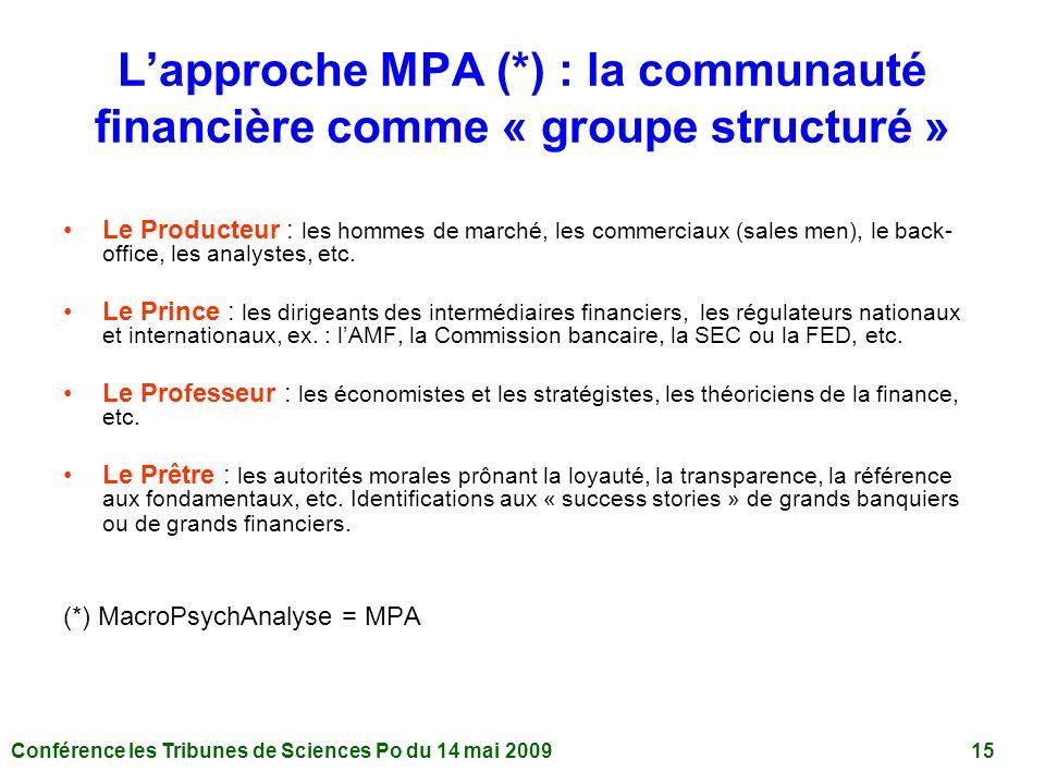 Conférence les Tribunes de Sciences Po du 14 mai 2009 15 Lapproche MPA (*) : la communauté financière comme « groupe structuré » Le Producteur : les hommes de marché, les commerciaux (sales men), le back- office, les analystes, etc.