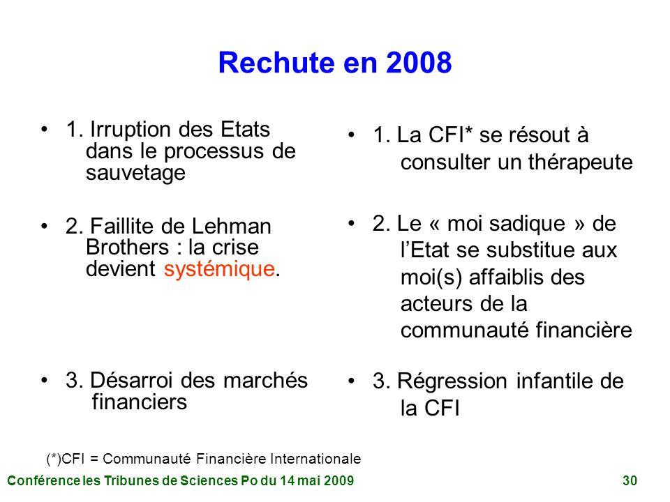 Conférence les Tribunes de Sciences Po du 14 mai 2009 30 Rechute en 2008 1.