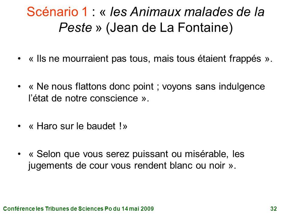 Conférence les Tribunes de Sciences Po du 14 mai 2009 32 Scénario 1 : « les Animaux malades de la Peste » (Jean de La Fontaine) « Ils ne mourraient pas tous, mais tous étaient frappés ».