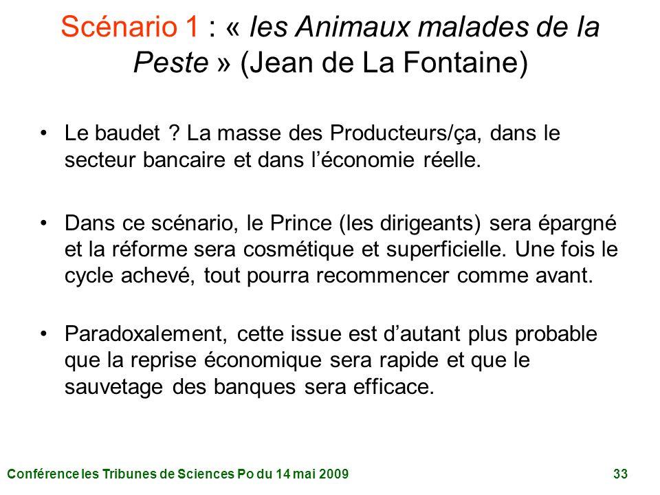 Conférence les Tribunes de Sciences Po du 14 mai 2009 33 Scénario 1 : « les Animaux malades de la Peste » (Jean de La Fontaine) Le baudet .