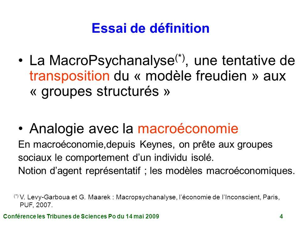 Conférence les Tribunes de Sciences Po du 14 mai 2009 4 Essai de définition La MacroPsychanalyse (*), une tentative de transposition du « modèle freudien » aux « groupes structurés » Analogie avec la macroéconomie En macroéconomie,depuis Keynes, on prête aux groupes sociaux le comportement dun individu isolé.