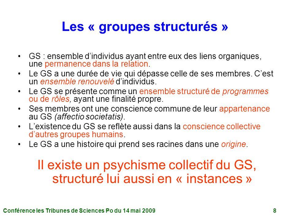 Conférence les Tribunes de Sciences Po du 14 mai 2009 8 Les « groupes structurés » GS : ensemble dindividus ayant entre eux des liens organiques, une permanence dans la relation.