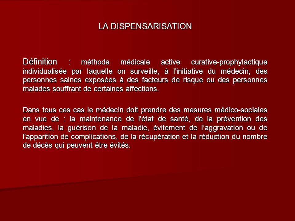 LA DISPENSARISATION Définition : méthode médicale active curative-prophylactique individualisée par laquelle on surveille, à linitiative du médecin, d