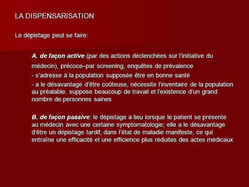 LA DISPENSARISATION Le dépistage peut se faire: A. de façon active (par des actions déclenchées sur linitiative du médecin), précoce–par screening, en