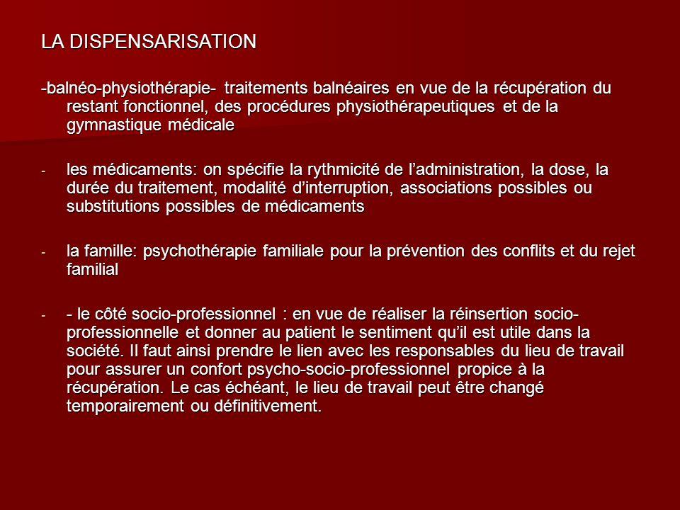 LA DISPENSARISATION -balnéo-physiothérapie- traitements balnéaires en vue de la récupération du restant fonctionnel, des procédures physiothérapeutiqu