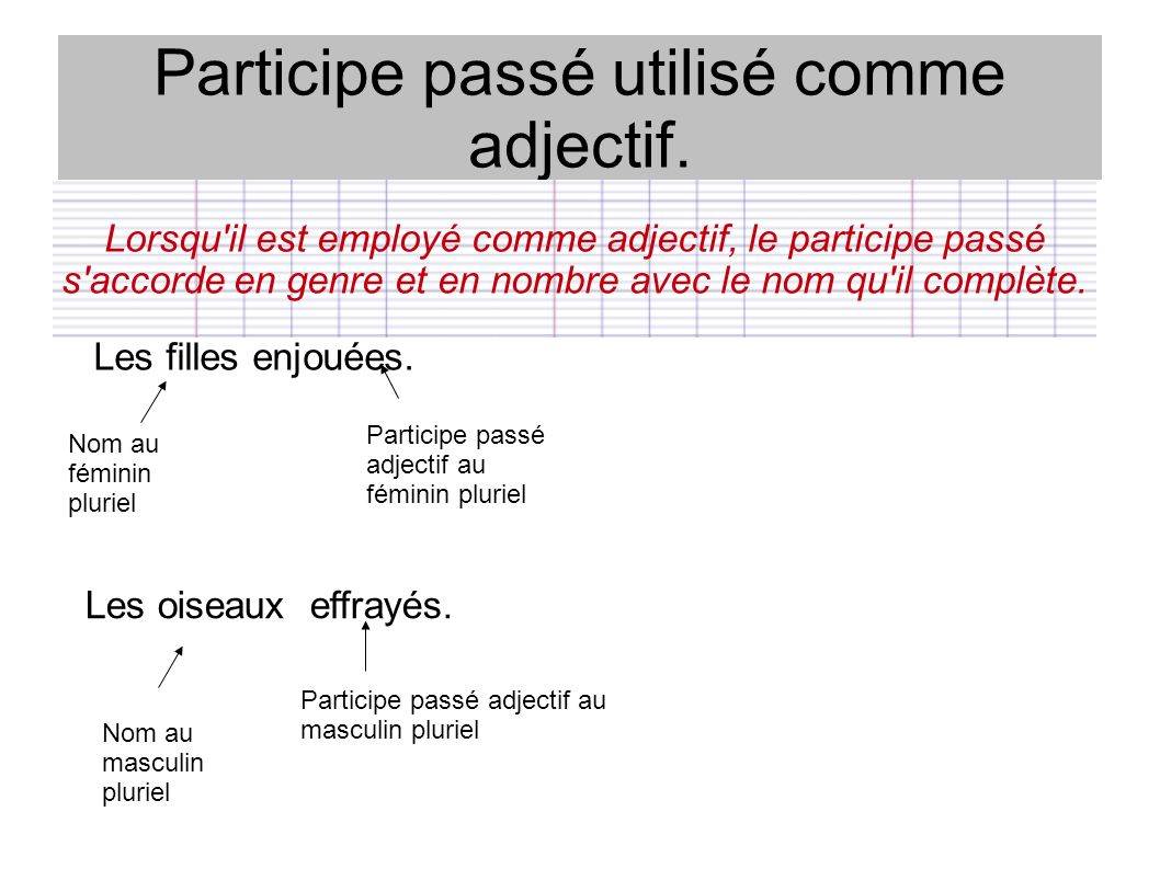 Participe passé utilisé comme adjectif. Lorsqu'il est employé comme adjectif, le participe passé s'accorde en genre et en nombre avec le nom qu'il com