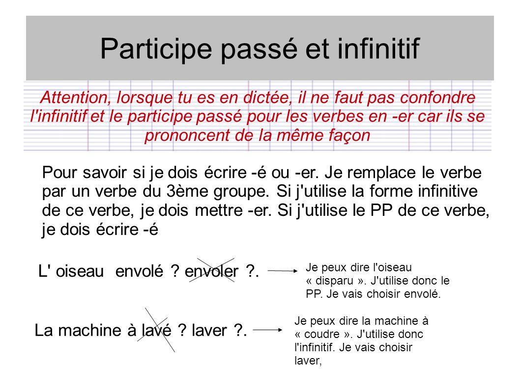 Participe passé et infinitif Attention, lorsque tu es en dictée, il ne faut pas confondre l'infinitif et le participe passé pour les verbes en -er car