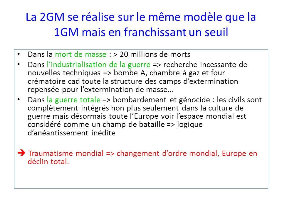 La 2GM se réalise sur le même modèle que la 1GM mais en franchissant un seuil Dans la mort de masse : > 20 millions de morts Dans lindustrialisation d