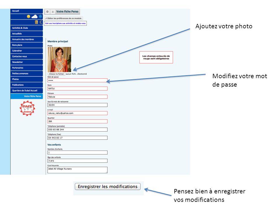 LAnnuaire des membres Tapez les 3 premières lettres du nom ou du prénom Le site vous donne les résultats Cliquez sur le nom, et la fiche du membre apparaît
