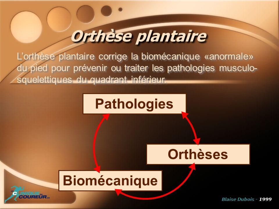 Orthèses Pathologies Biomécanique Orthèse plantaire Lorthèse plantaire corrige la biomécanique «anormale» du pied pour prévenir ou traiter les patholo