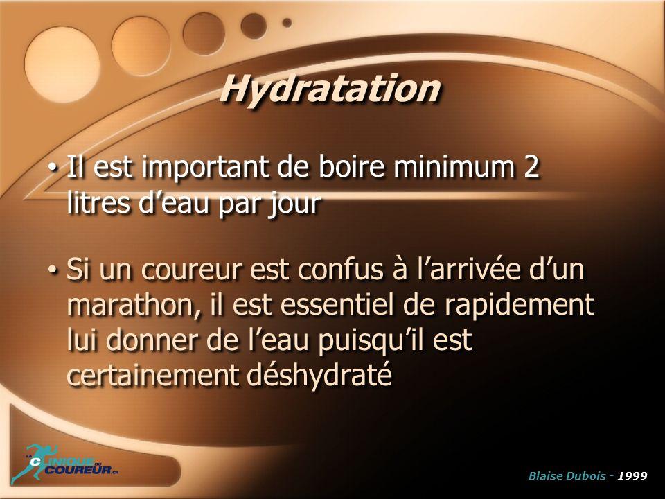 Hydratation Il est important de boire minimum 2 litres deau par jour Si un coureur est confus à larrivée dun marathon, il est essentiel de rapidement