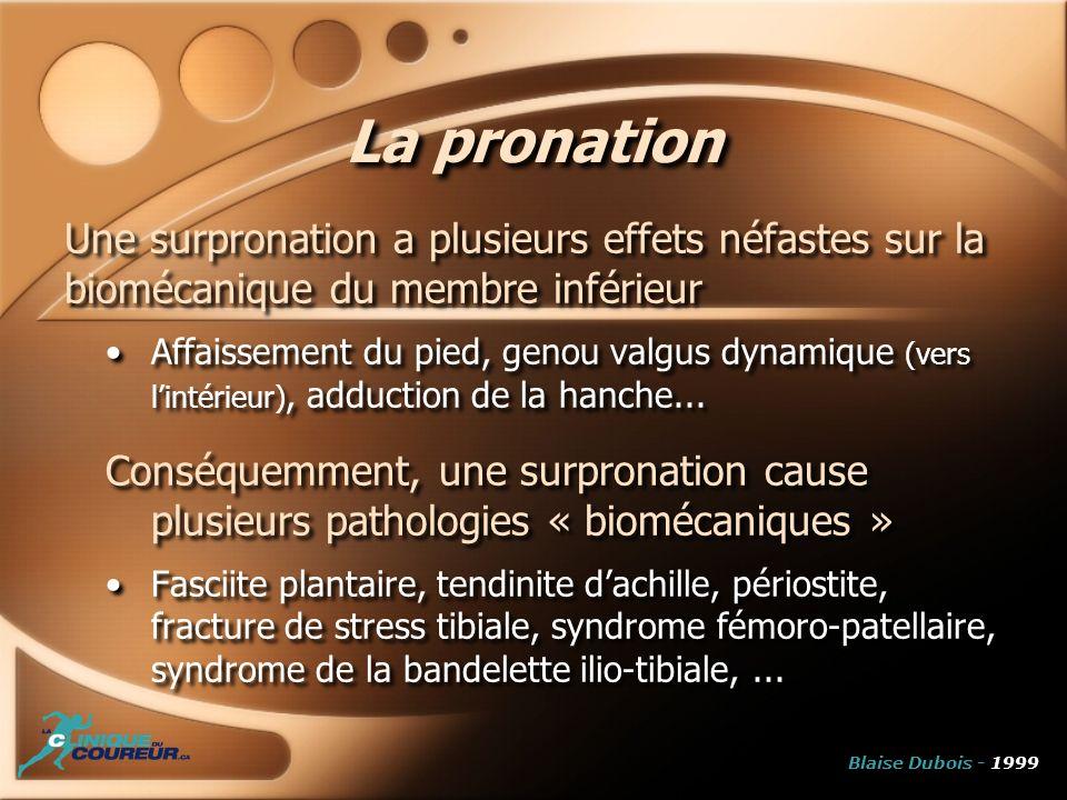 La pronation Une surpronation a plusieurs effets néfastes sur la biomécanique du membre inférieur Affaissement du pied, genou valgus dynamique (vers l