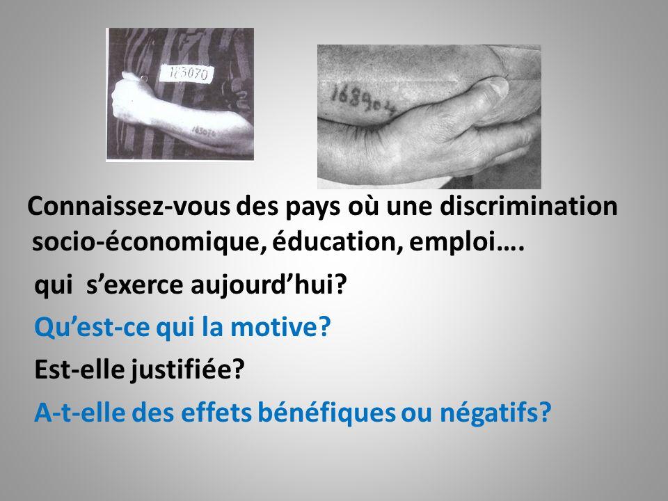 Connaissez-vous des pays où une discrimination socio-économique, éducation, emploi…. qui sexerce aujourdhui? Quest-ce qui la motive? Est-elle justifié