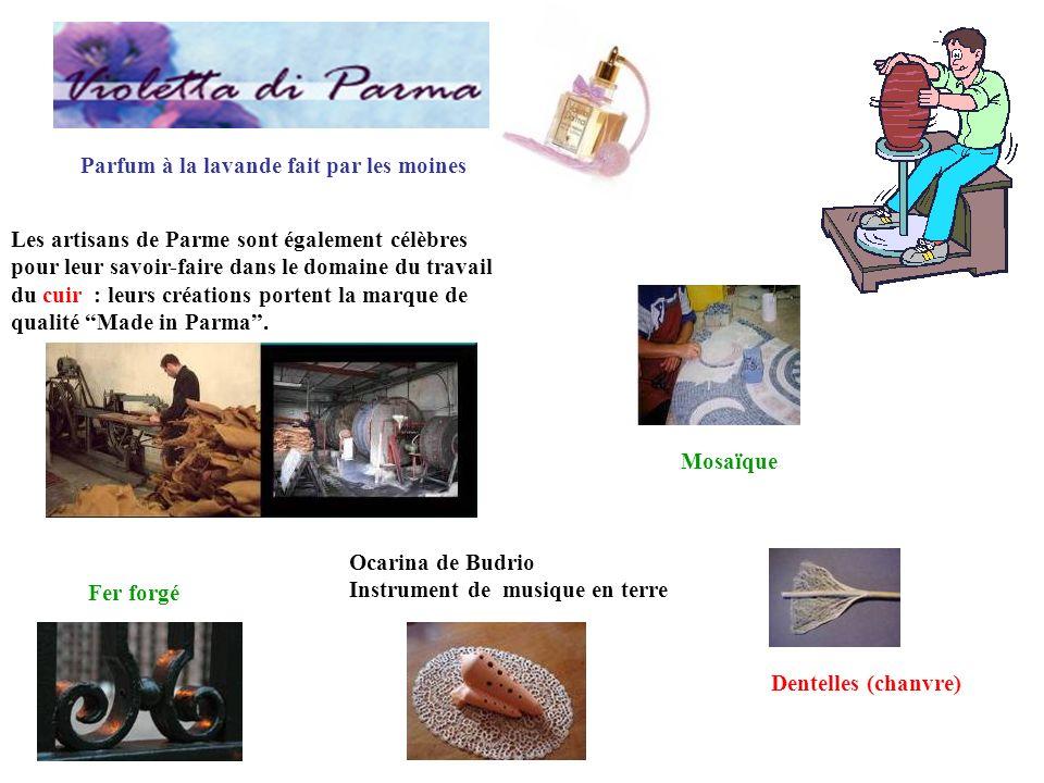 Les artisans de Parme sont également célèbres pour leur savoir-faire dans le domaine du travail du cuir : leurs créations portent la marque de qualité