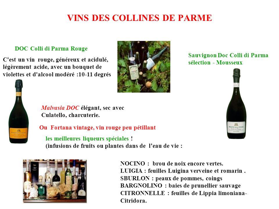 VINS DES COLLINES DE PARME C'est un vin rouge, généreux et acidulé, légèrement acide, avec un bouquet de violettes et d'alcool modéré :10-11 degrés le