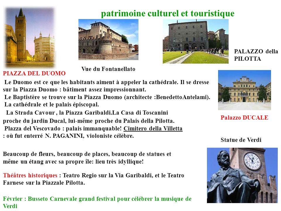 patrimoine culturel et touristique PIAZZA DEL DUOMO La Strada Cavour, la Piazza Garibaldi.La Casa di Toscanini proche du jardin Ducal, lui-même proche