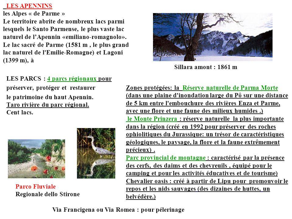 LES PARCS : 4 parcs régionaux pour préserver, protéger et restaurer le patrimoine du haut Apennin. Taro rivière du parc régional. Cent lacs. Sillara a