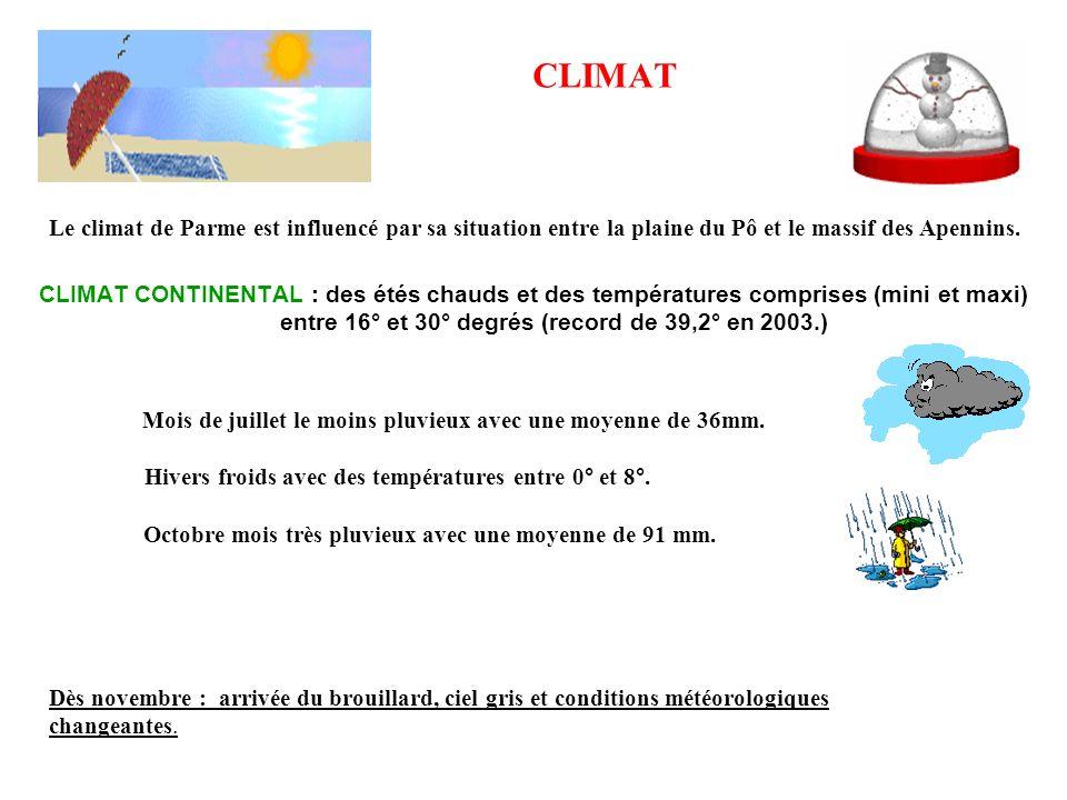 CLIMAT CLIMAT CONTINENTAL : des étés chauds et des températures comprises (mini et maxi) entre 16° et 30° degrés (record de 39,2° en 2003.) Mois de ju