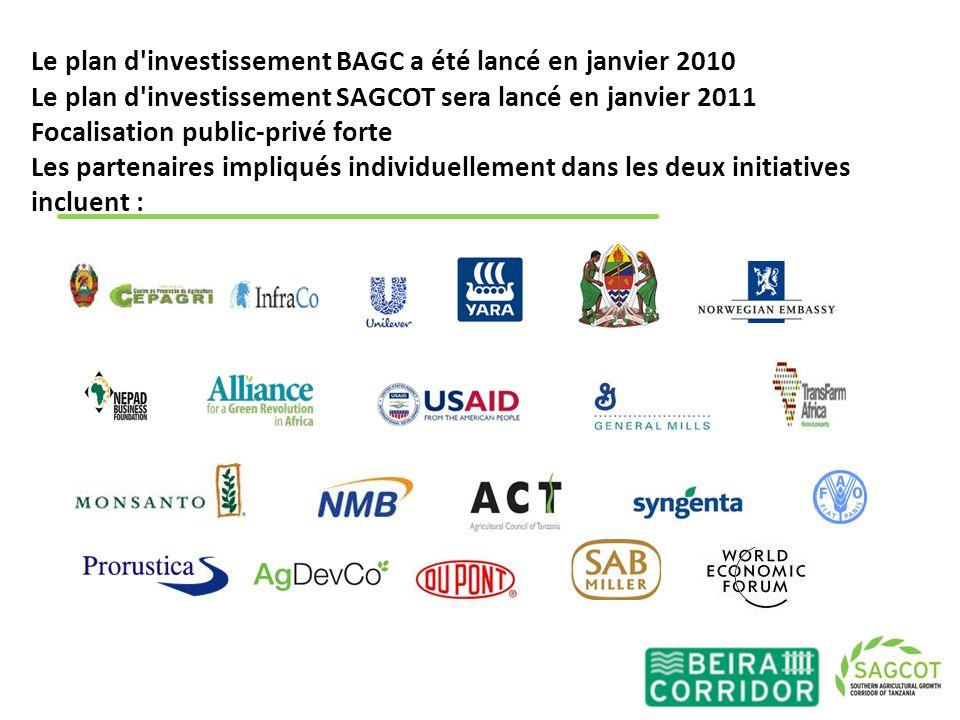 Le plan d'investissement BAGC a été lancé en janvier 2010 Le plan d'investissement SAGCOT sera lancé en janvier 2011 Focalisation public-privé forte L