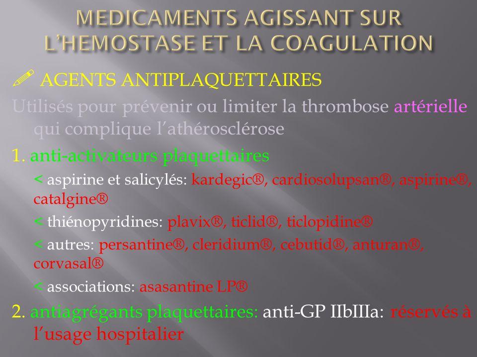 AGENTS ANTIPLAQUETTAIRES Utilisés pour prévenir ou limiter la thrombose artérielle qui complique lathérosclérose 1. anti-activateurs plaquettaires < a