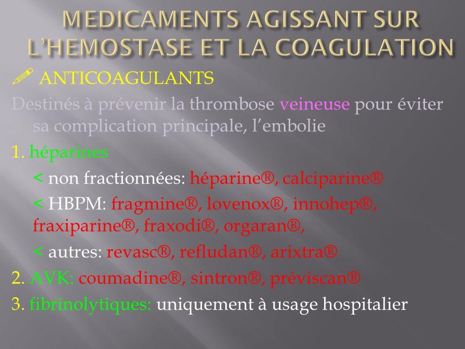 ANTICOAGULANTS Destinés à prévenir la thrombose veineuse pour éviter sa complication principale, lembolie 1. héparines < non fractionnées: héparine®,