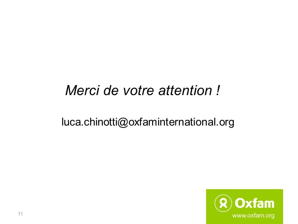 Merci de votre attention ! luca.chinotti@oxfaminternational.org 11