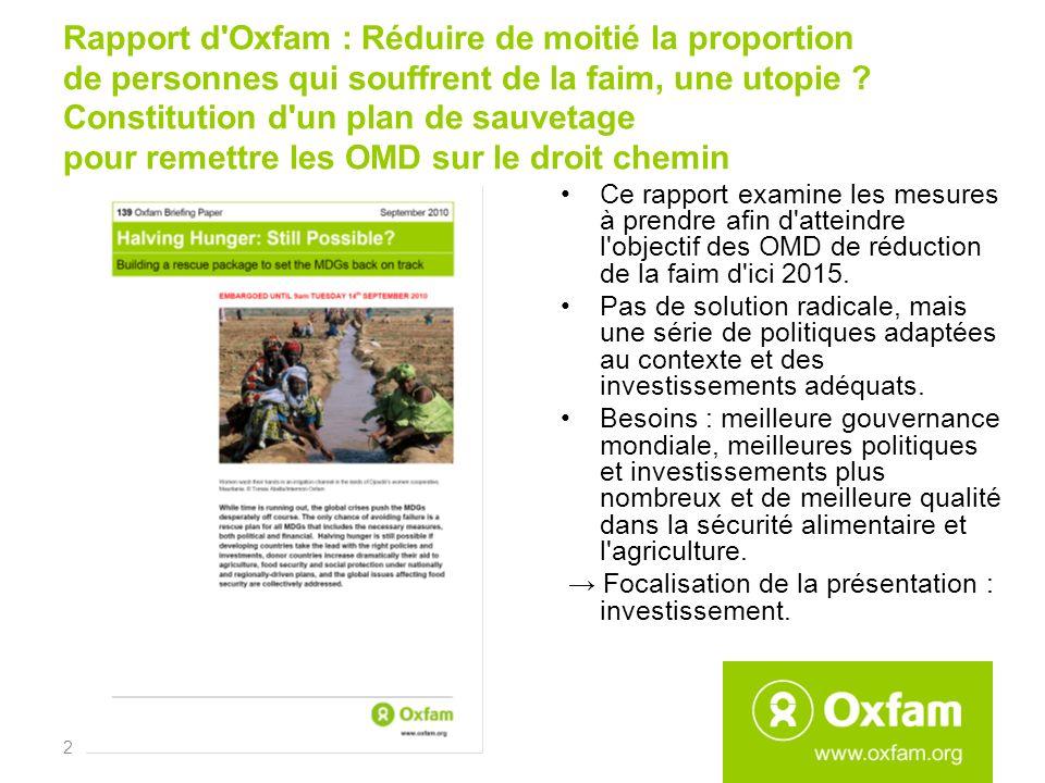 Rapport d'Oxfam : Réduire de moitié la proportion de personnes qui souffrent de la faim, une utopie ? Constitution d'un plan de sauvetage pour remettr