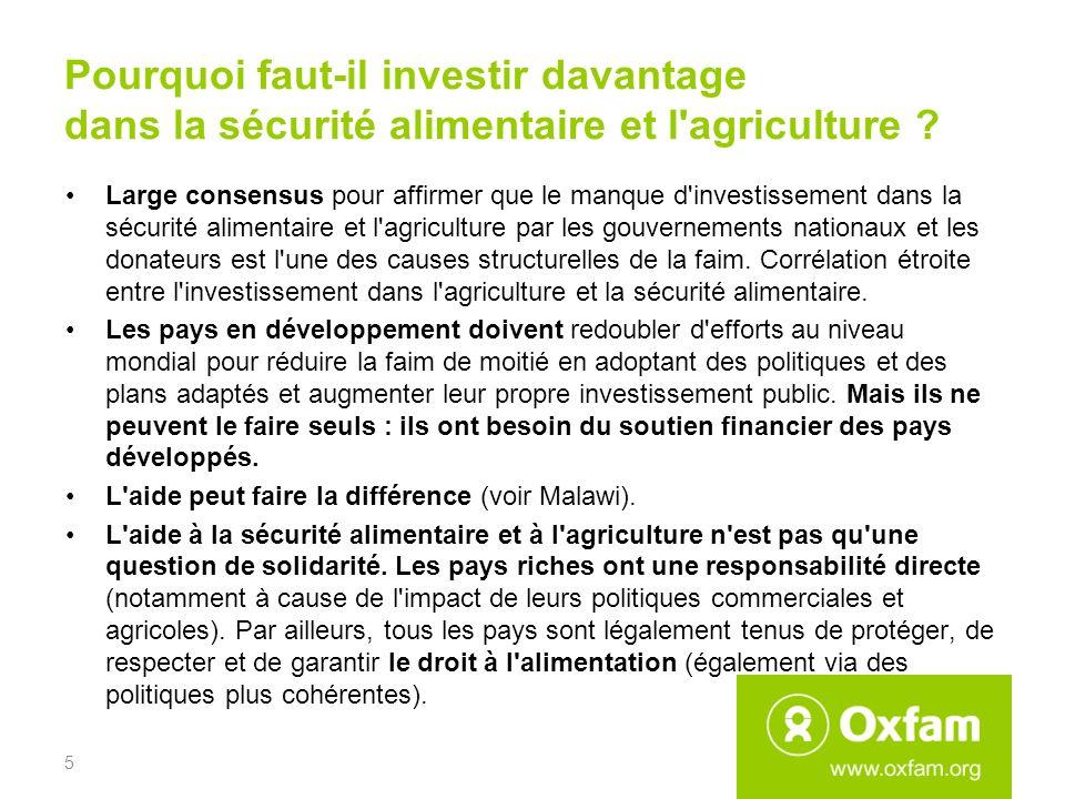 Pourquoi faut-il investir davantage dans la sécurité alimentaire et l'agriculture ? Large consensus pour affirmer que le manque d'investissement dans