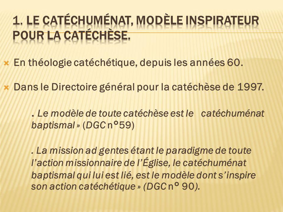 En théologie catéchétique, depuis les années 60. Dans le Directoire général pour la catéchèse de 1997.. Le modèle de toute catéchèse est le catéchumén