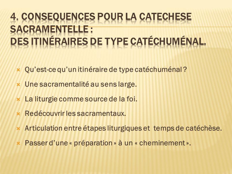 Quest-ce quun itinéraire de type catéchuménal ? Une sacramentalité au sens large. La liturgie comme source de la foi. Redécouvrir les sacramentaux. Ar